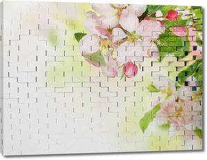 Кирпичная стена с, цветами черемухи