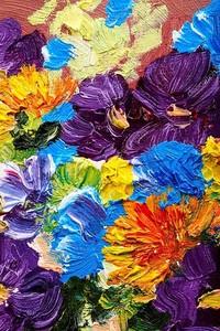 Абстрактный фон. Картина маслом - цветы