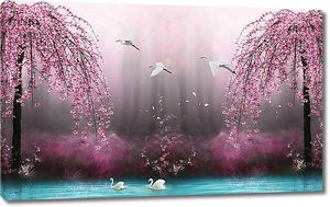 Озеро в розовом лесу