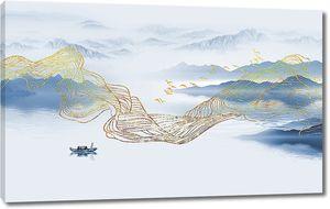 Волна из золотых линий на фоне гор