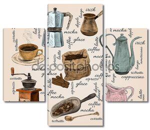 урожай кофе handdrawn набор