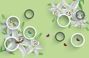 Лилии по углам с кольцами
