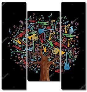 Абстрактные музыкальные дерева с инструментами