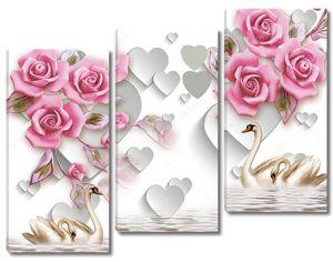 Бумажные сердечки, розы, четыре лебедя