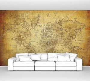 Карта мира в старинном стиле