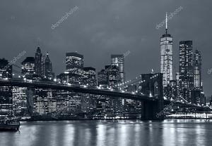 Панорама Нью-Йорк ночью, Бруклинский мост и синий tonali