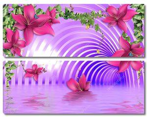 Фиолетовый тоннель, вода, цветы, плющ