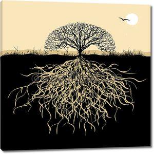 силуэт дерева с корнями