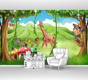 Веселые жирафы на поляне