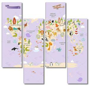 Детская карта континентов с самолетами