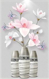 Красивые розовые цветы в вазочках