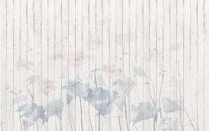 Доски, полупрозрачные большие розовые цветы с листьями