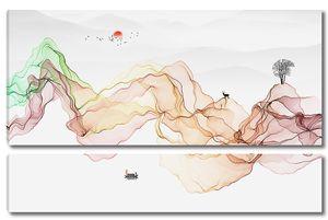 Контуры гор цветными лентами