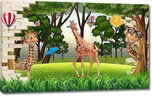 Жирафы из пролома в стене