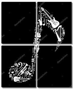Музыкальные инструменты в форме записки