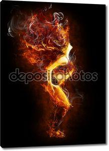 Пламенный символ на черном фоне