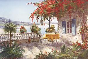 Прекрасная цветочная терраса солнечным утром
