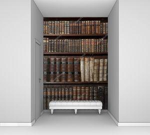 Исторические старые книги в старой библиотеке