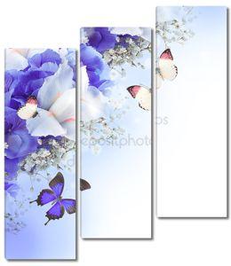 Цветы и бабочки, голубые гортензии и белые ирисы