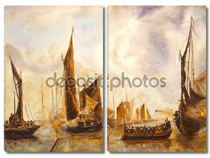 Искусство нефти живописи картина морской бой