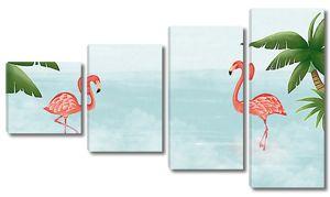 Два фламинго с пальмами