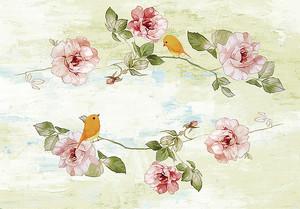 Веточки цветов на состаренной стене