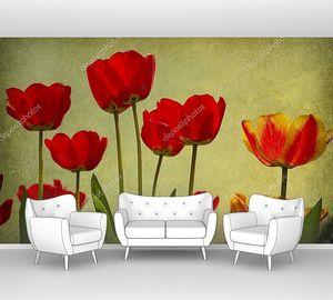 Тюльпаны на гранж-фоне