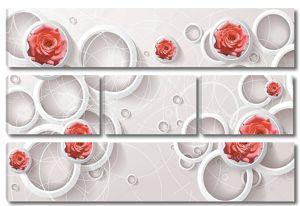 Белые кольца, белые линии, бутоны розовых роз