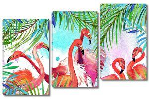 Рисованные яркие фламинго