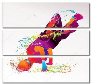 Танцующий мальчик с яркими пятнами и брызгами на легкой спине