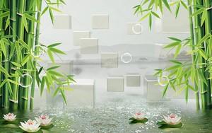 Бамбук, мыльные пузыри, водяные лилии в блестящей воде