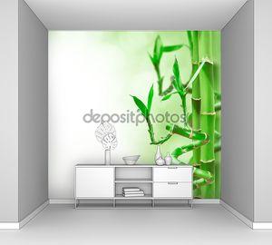 Зеленый бамбук на светлом фоне