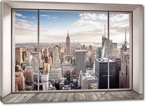 Современный город в окне