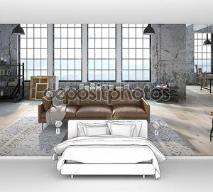 Современные комнаты с огромными окнами. 3D визуализация