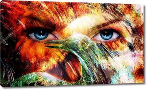 Женские голубые глаза и птица Феникс