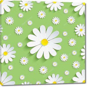 Весной зеленый бесшовный паттерн с Белые ромашки