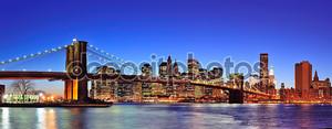 Бруклинский мост в Манхэттене Нью-Йорк Сити