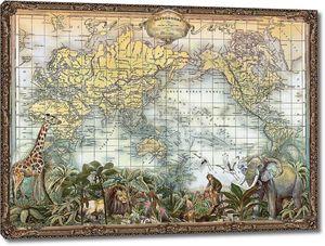 Старинная карта с животными
