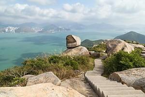 Вид с холма на острове Ламма в Hong Kong