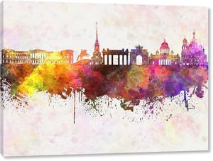 Санкт-Петербург skyline в акварельный фон
