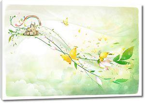 Замок в облаках с бабочками