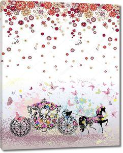 Сказочная карета в цветах