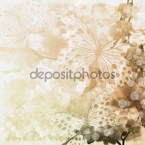 бабочки и орхидеи цветы бежевый фон (1 комплект)
