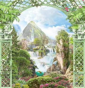 Вид на множество водопадов