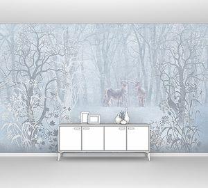 Олени в туманном лесу