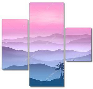 фон с пальмой и горы в тумане