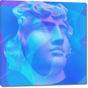 Коллаж с гипсовым античным Бюстом Аполлона