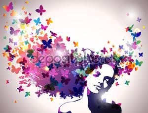 Портрет женщины с бабочками, летящий из ее волос