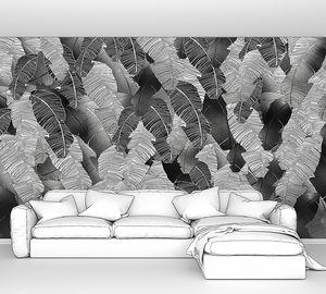 Pletora-множество черно-белых пальмовых листьев