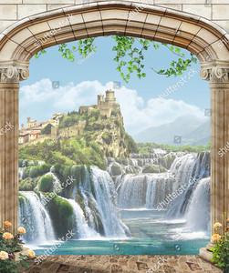 Вид из арки на гору с замком
